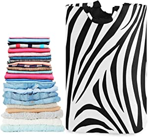 visesunny Zebra Animal Stripe Large Laundry Hamper with Handle Foldable Durable Clothes Hamper Laundry Bag Toy Bin for Bathroom, Bedroom, Dorm, Travel
