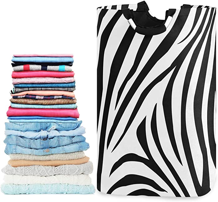 visesunny Zebra Animal Stripe Large Laundry Hamper with Handle Foldable Durable Clothes Hamper Laundry Bag Toy Bin for Bathroom, Bedroom, Dorm, Travel