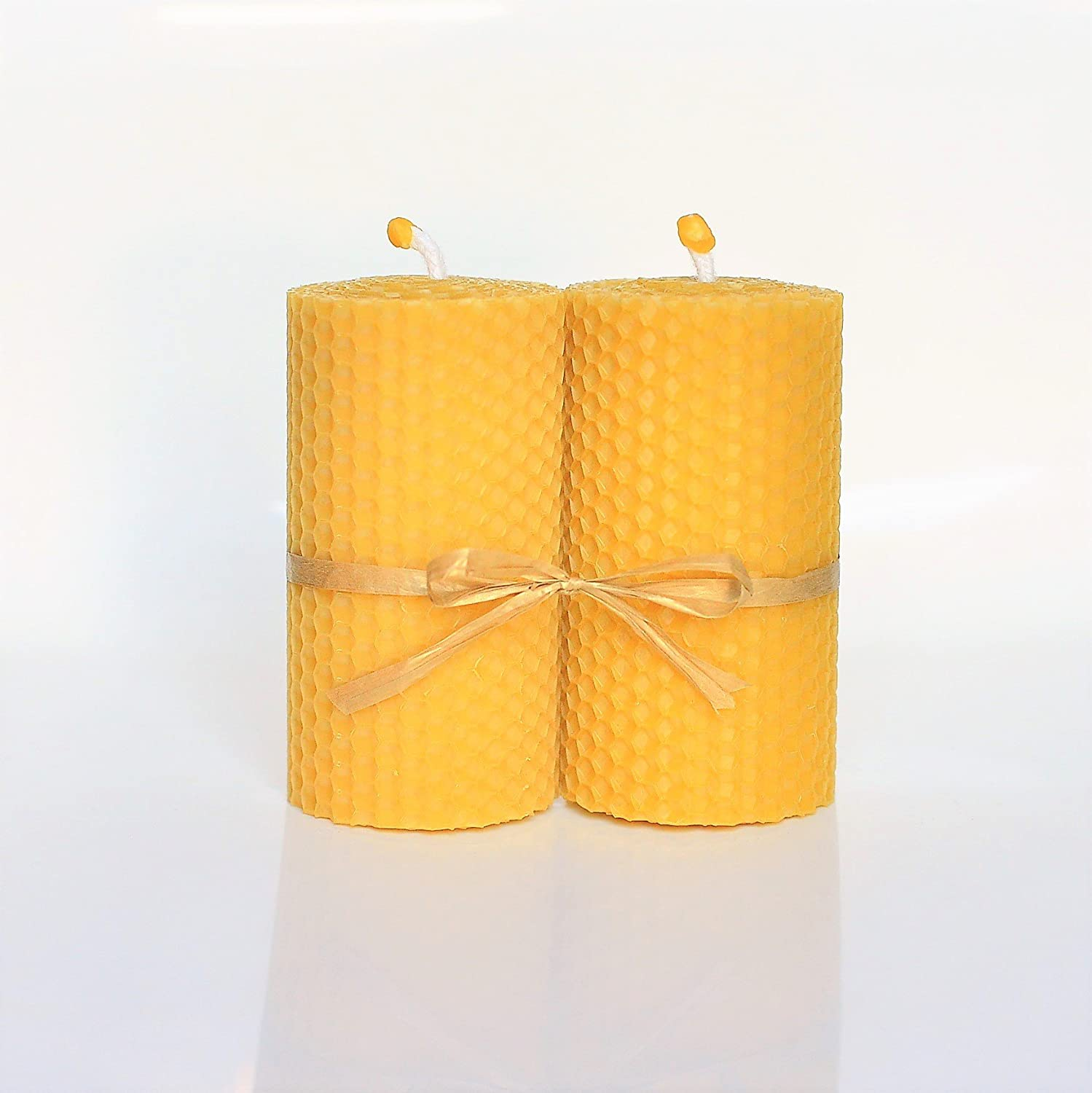 100% Pure Beeswax Candle Set of 2 Candles Size 4 inch x 2 inch Hand Rolled Decorated Natural Honey/Beeswax Scent 100% Handmade Eco Candle Honey Candles