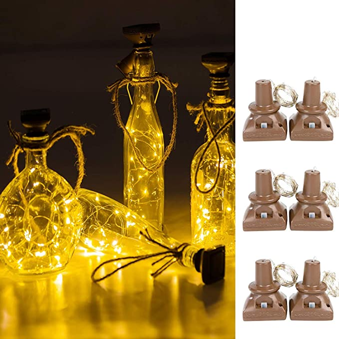 Solar Powered 20 LEDs Wine Bottle Lights with Cork Light DIY Fit Party Halloween