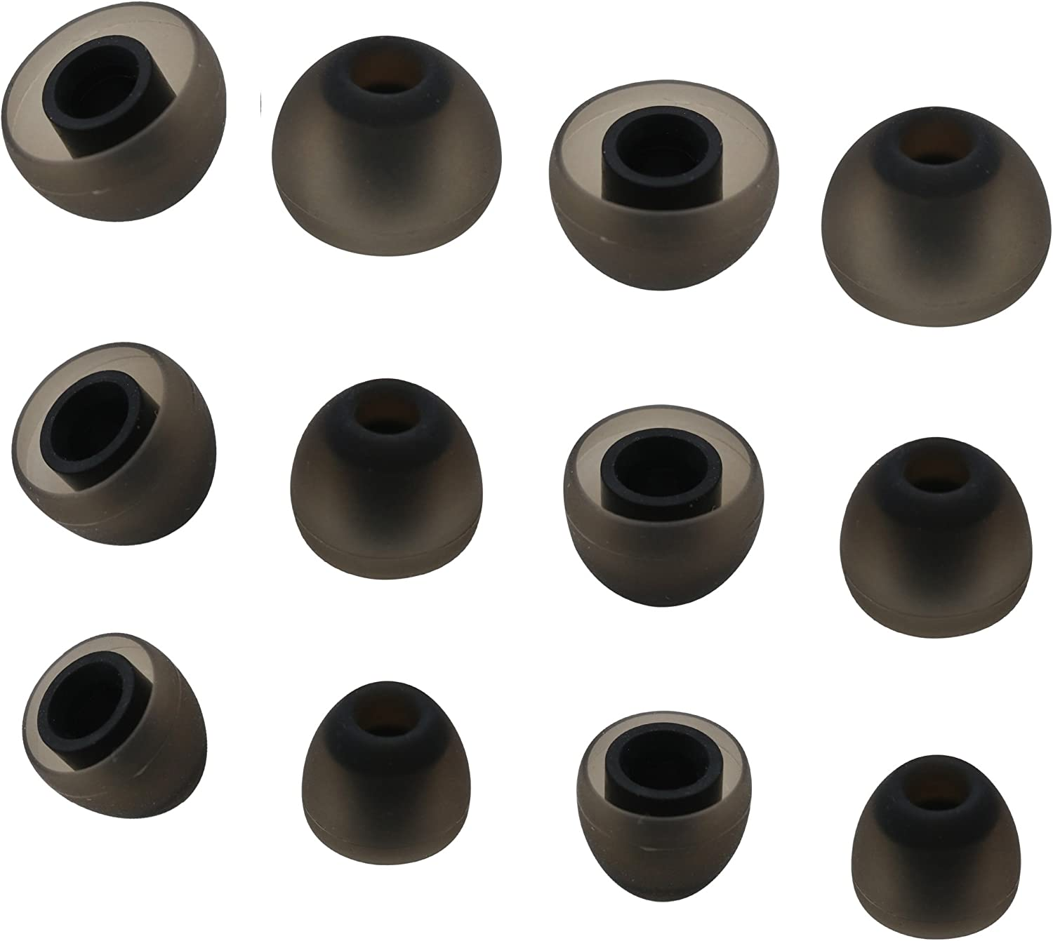 Noise Isolation Comfort Silicone Tips in Ear Canal 6 Pairs M//Black4.5mm Medium Size Included Rayker Replacement Ear Tips for Jaybird Bluebuds X X2 X3 Ear Adapter Jaybird X3 Tips