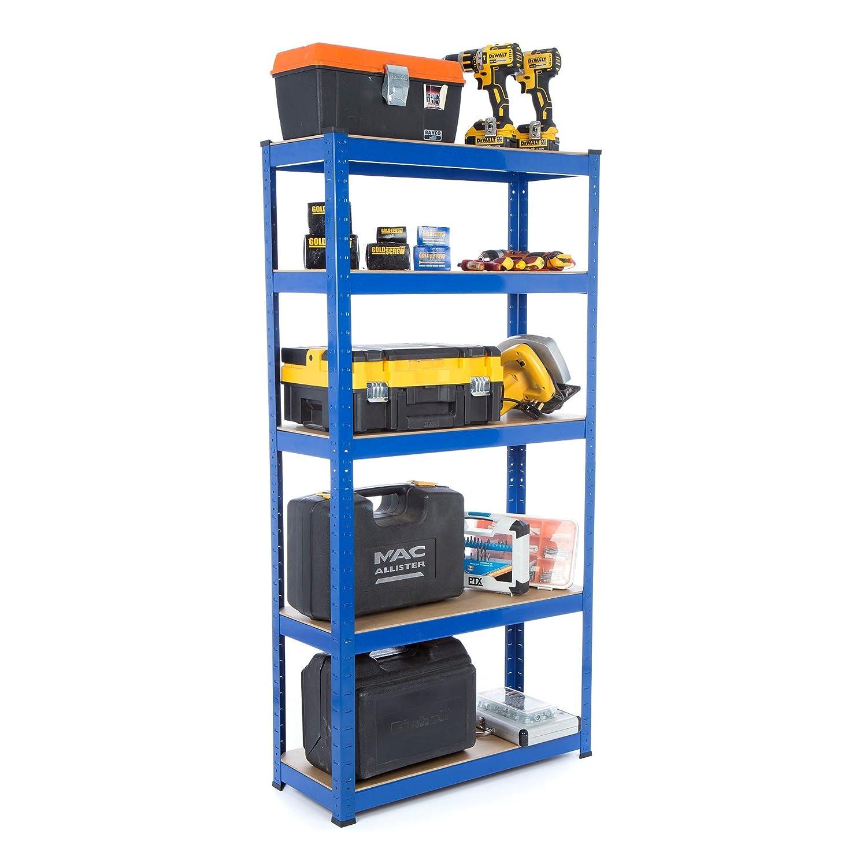 Scaffalatura per carichi pesanti in acciaio, per garage, 275 kg per ripiano (5 ripiani, 1800 mm altezza x 900 mm larghezza x 300 mm profondità ) Racking Solutions