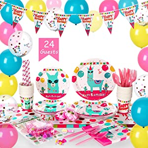 Llama Cactus Party Supplies Set for 24 guests(over 280 pieces)- Alpaca Theme Kids Birthday Party Tableware Pack Include Disposable Plates Cups Banner Balloons Cutlery Tablecloth Napkins Straws And Gifts