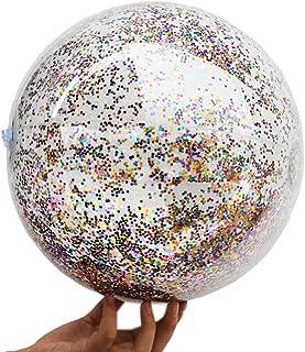 LIOOBO 14 Pouce 80g Transparent Paillettes Gonflable Ball Été Drôle Eau Amusant Jouer Plage Ball Pool Ball Party Favor pour Enfants Enfants