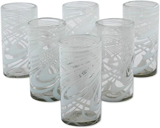 Blown Glass Highball Glasses Set 6 Handcrafted /'Aurora Tapatia/' NOVICA Mexico