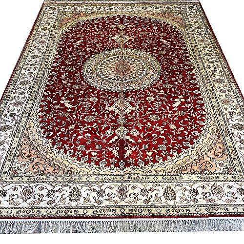 Yilong 6'x9' Red Traditional Area Rugs Silk Handmade Oriental Persian Medallion Carpet