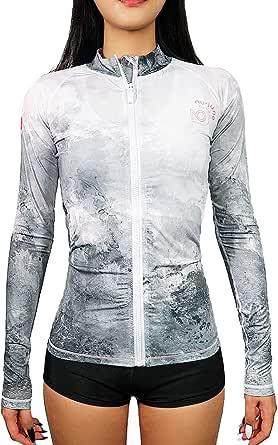 NU-JUNE Rash Guards Women Long Sleeve Zip Front Top Swimsuit UV50+ Swim Shirts