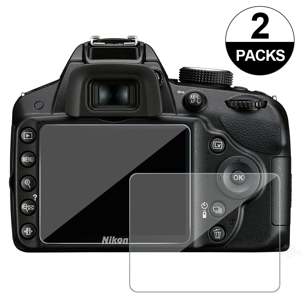 2-Pack Awinner Glass for Nikon D3200 D3400 D3300 D3100 Camera Screen Protector Anti-Scratch Tempered Glas