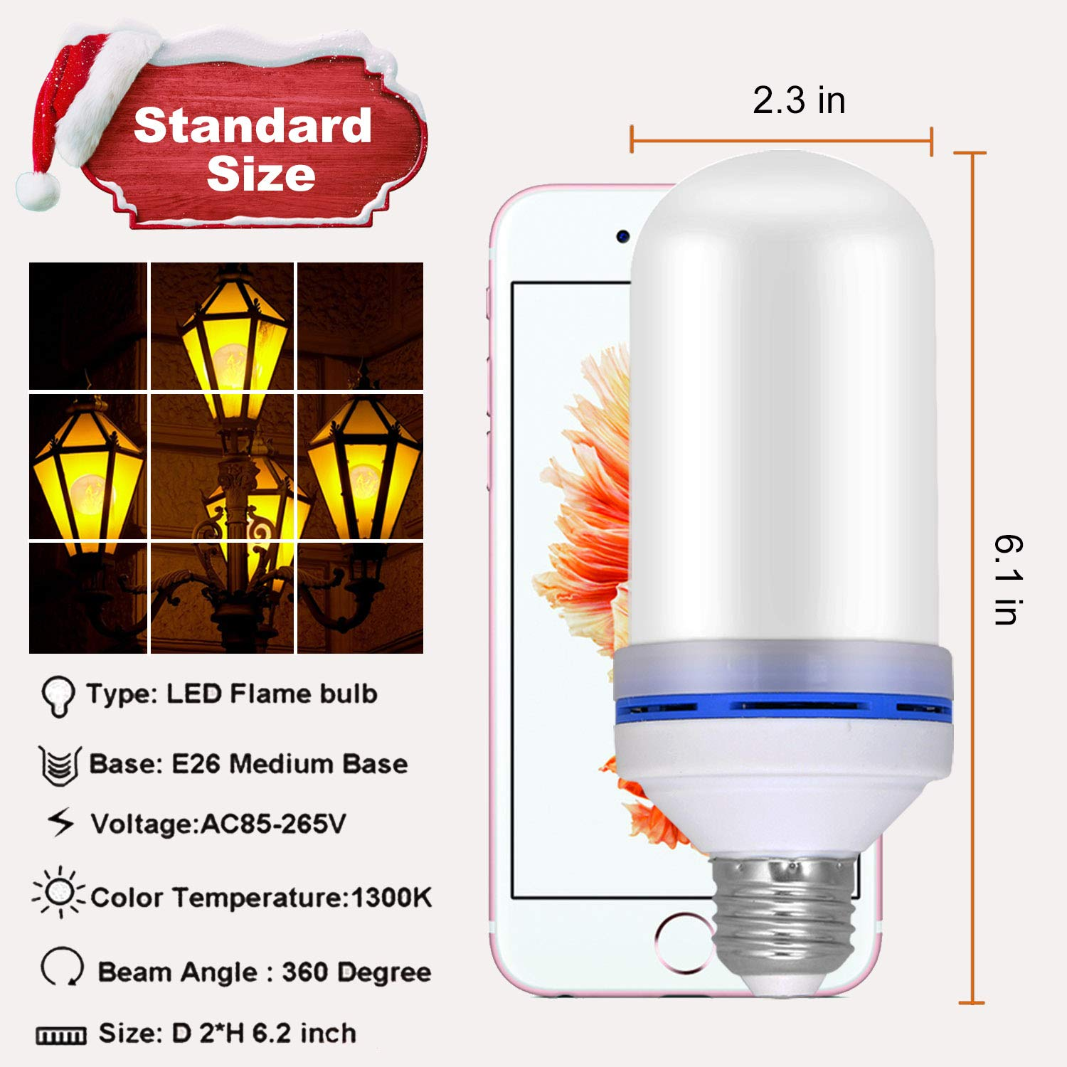 Flame Light Bulb, E26 LED Flickering Effect Light Bulbs,105pcs 2835 LED Beads Simulated Decorative Light Atmosphere Lighting Vintage Flaming Light Bulb for Bar,Home,Festival Decoration