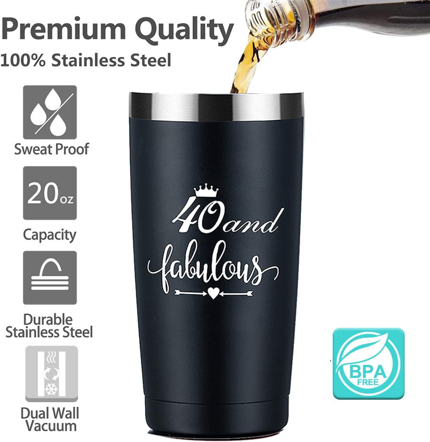 Amazon Com 40th Birthday Gifts For Men 20oz Black Insulated Tumbler With Lid And Straw Best Birthday Gift Ideas For Husband Wife Aunt Friend Father Him Her Stainless Steel Travel