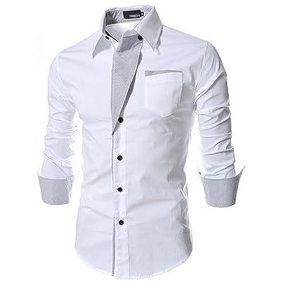 【HAFOS】(ハフォス) ワイシャツ メンズ 長袖 スリム フィット カジュアルシャツ ドレスシャツ カッターシャツ オシャレシャツ(M~XXL)