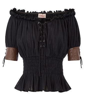 4c9fdec3d30 Women s Gothic Corset Peasant Top Victorian T-Shirt Blouse BP581-1 S Black
