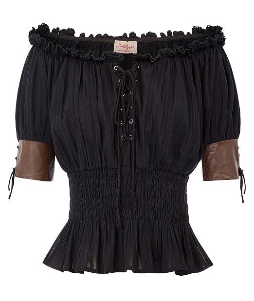 Amazon.com: Blusa estilo victoriano para mujer con estampado ...