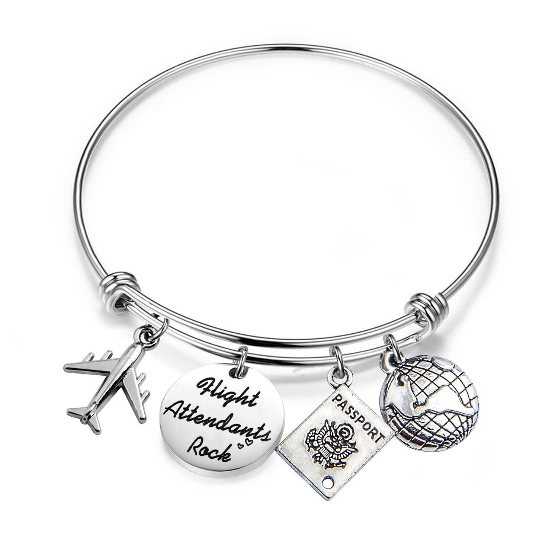 MAOFAED Travel Bracelet Remember the moments Traveler Bracelet Gift for Pilot flight attendant Trip Jewelry (Flight Attendants Bracelet)