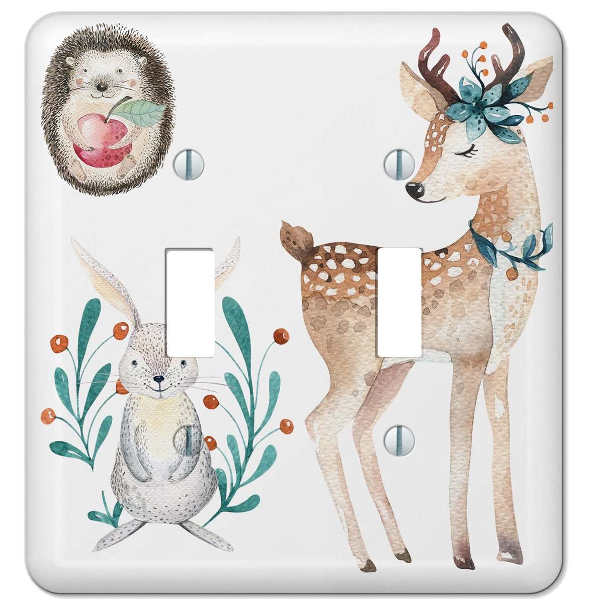 Woodland Whimsy Art Double Toggle Wall outlet Switchplate Cover , Woodland Nursery,