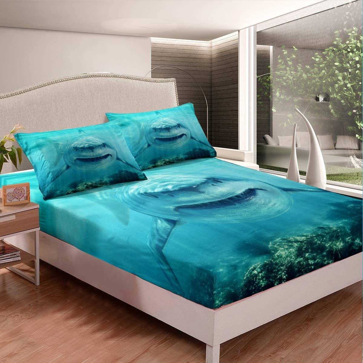 Feelyou 3D Shark Bedding Set for Kids Boys Teens Marine Life Ocean Shark Bed Sheet Set Sea Underwater Fitted Sheet Aquatic Animal Bed Cover,Room Decor 3Pcs Sheets Full Size