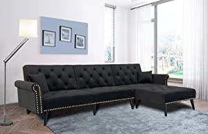 Moloki Sectional Futon Sofa Bed Upholstered Reversible Sleeper Sofa Couch with Chaise, Adjustable Back Sofa Bed with Solid Wooden Legs for Living Room, Office (Black)