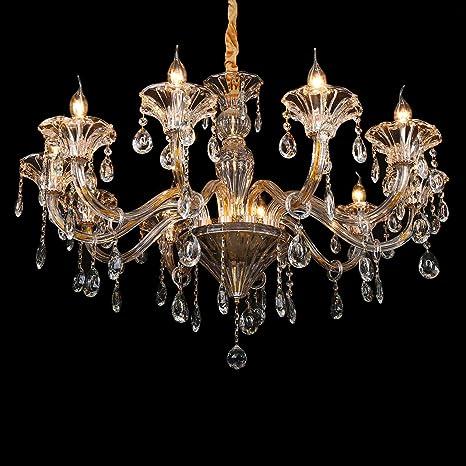TryESeller Lujoso 10 brazo Candelabro K9 Transparente Cristal Vaso Color oro plata Lámpara de techo Lámpara de techo para Sala Habitación Entrada de ...