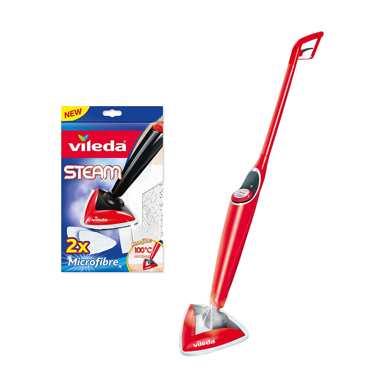 Nye Vileda 100 Hot Spray Mop with Mop Replacement Pads - Pack of 2 VG-32