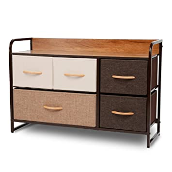 ORAF 5-Drawer Dresser, Sturdy Steel Frame, Wooden Top, Easy Pull Fabric Bins, Storage Tower Organizer Unit for Bedroom, Hallway, Entryway, Closets - ...