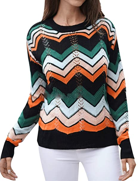 Amazon.com: MIEDEON Womens Pullover Jumper Crewneck Rainbow ...