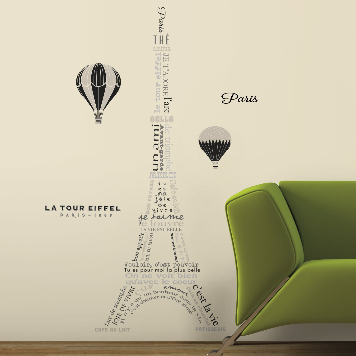 RoomMates RMKGM Eiffel Tower Neutral Peel And Stick Giant Wall - Wall decals eiffel tower