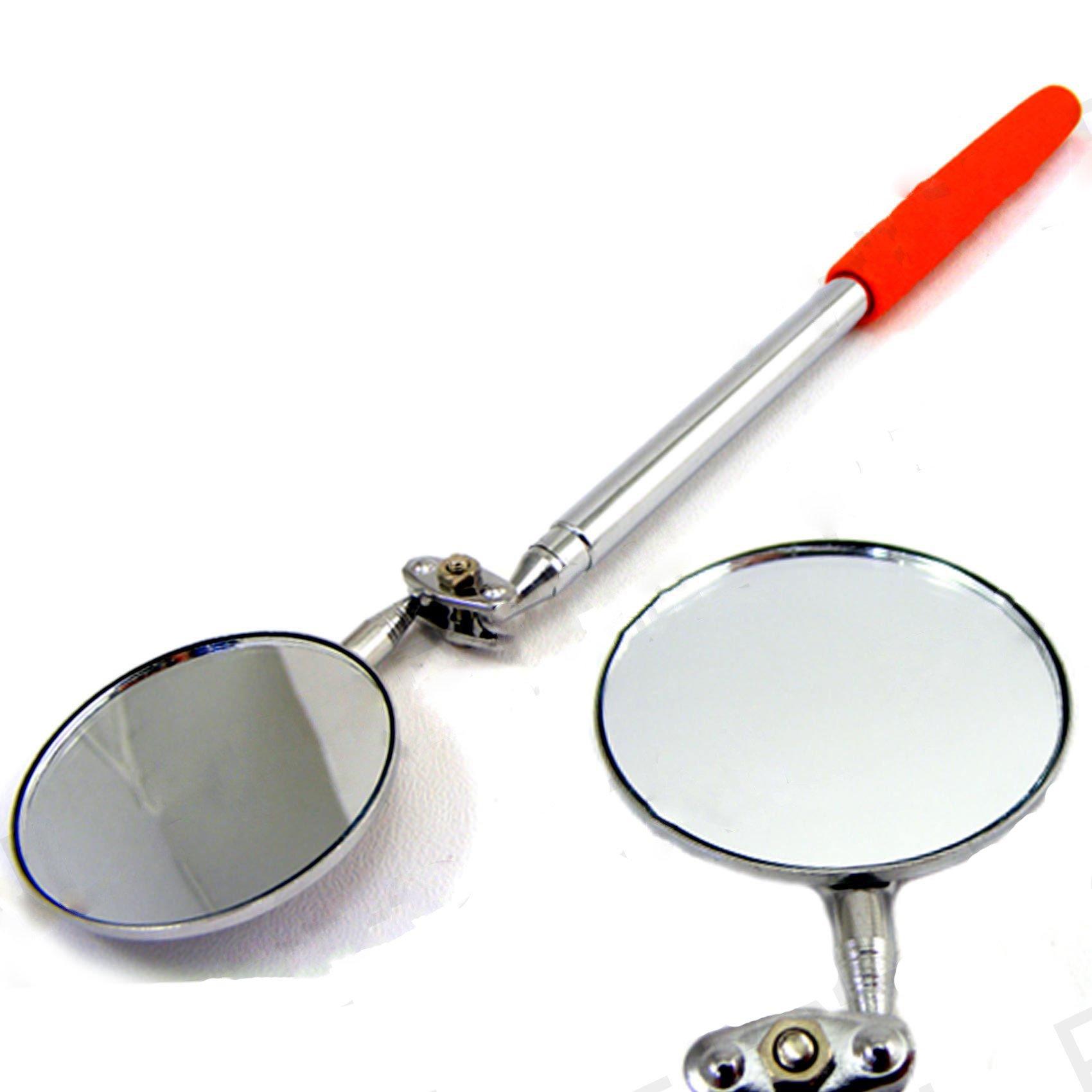 White Hinge Large 5cm Telescopic Inspection Mirror - Angle Swivel Arm Car Mechanic Engine Tool