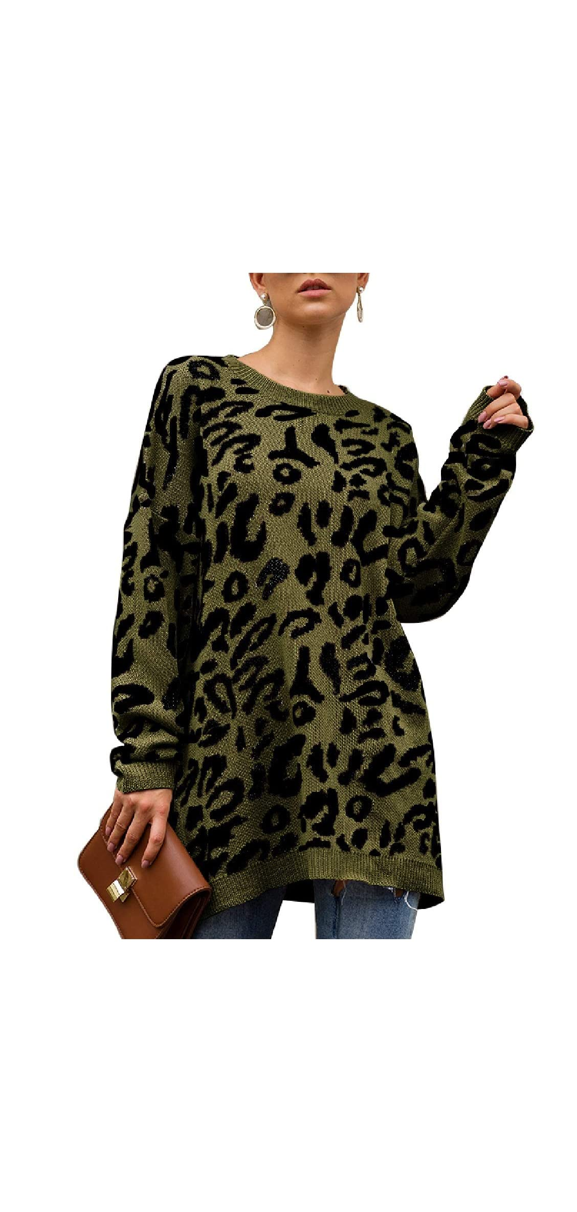 Womens Leopard Print Pullover Oversized Crew Neck Casual