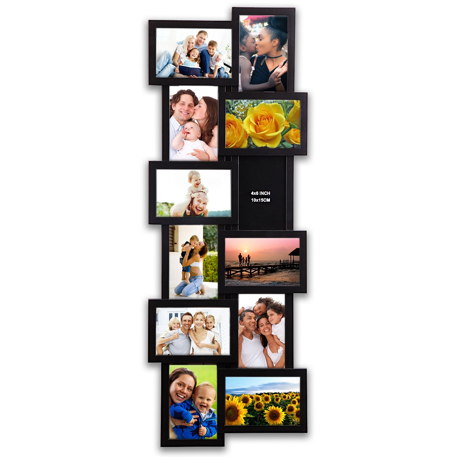 Hello Laura 32 by 12 inch Gallery Collage Wall Hanging Photo Frame For 4 x 6 Photo, 12 opening Photo Sockets, Black Edge
