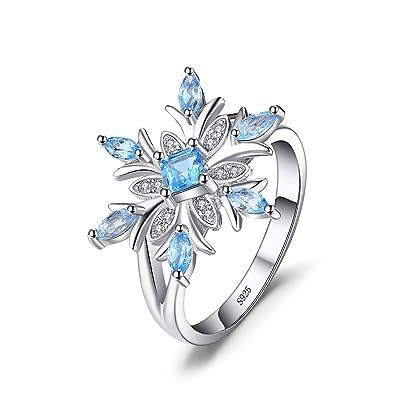 342e74fba9794 JewelryPalace Magnifique Bague Femme en Forme Flocon de Neige en Argent  Sterling 925 en Topaze Bleu