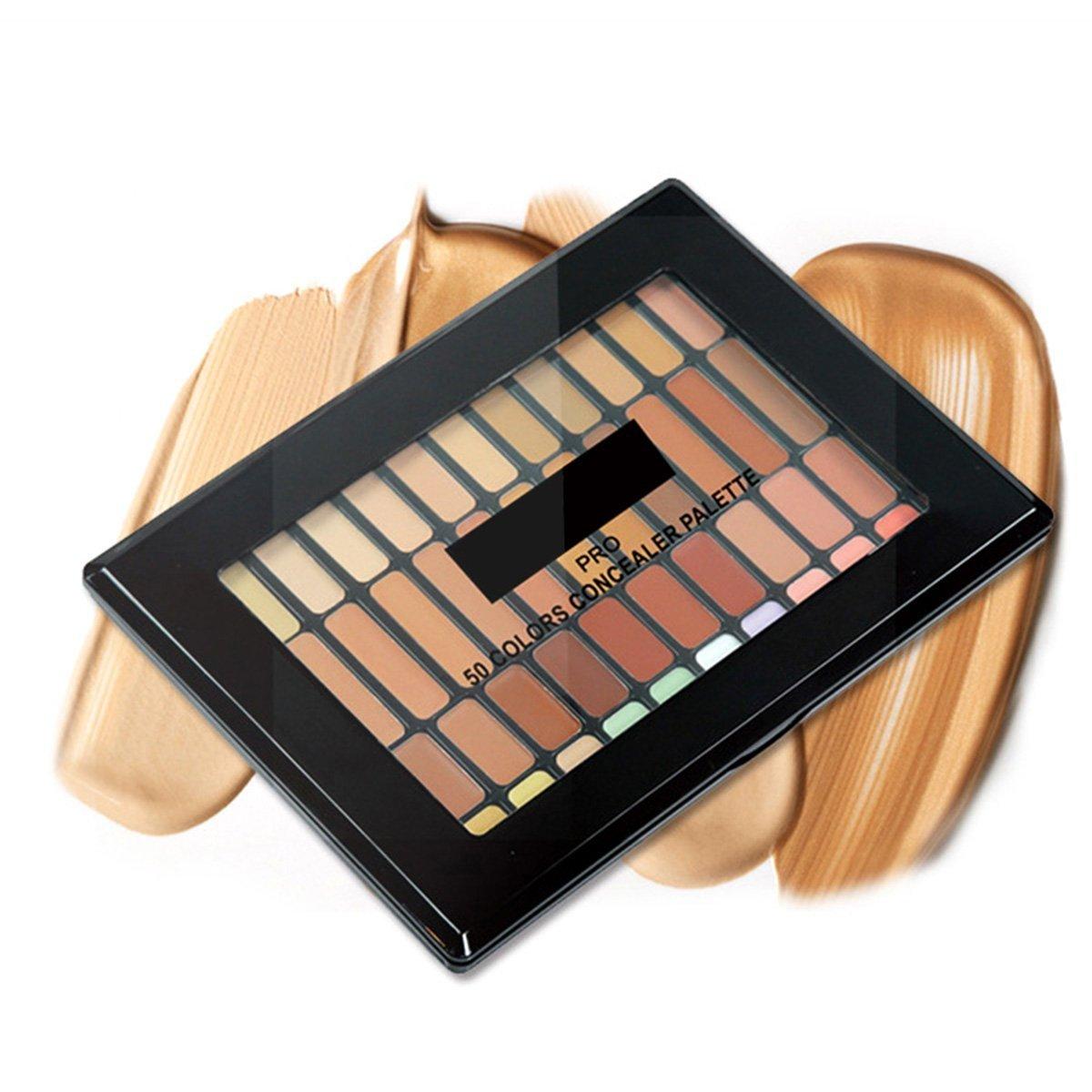 50 Color Concealer Palette - ELVASEN Professional Women Makeup Cosmetic Foundation Contour Creamy Highlighter Camouflage Kit