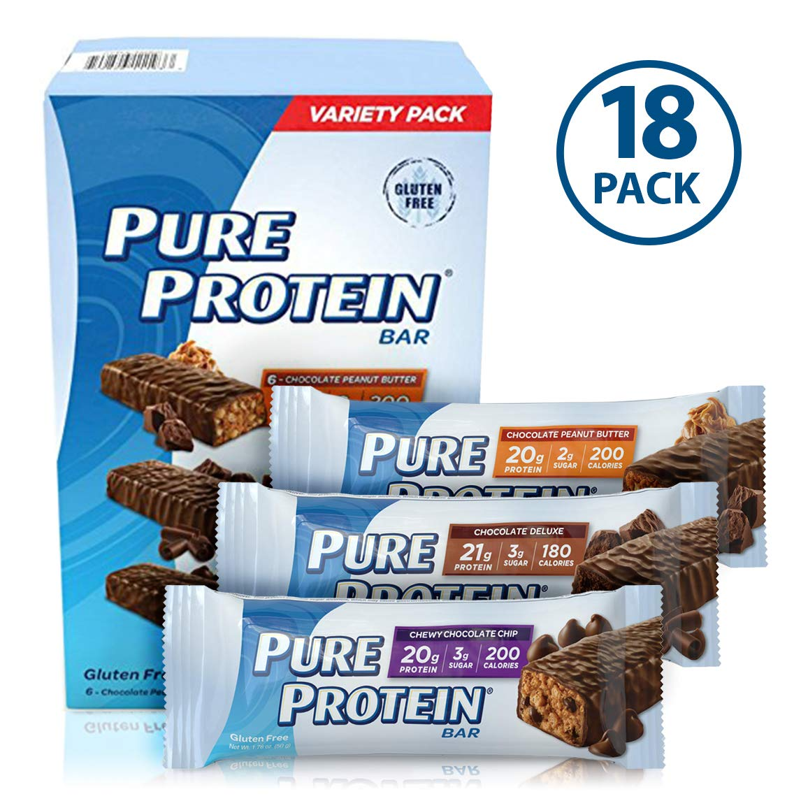 Pure Protein Bars, High Protein, Nutritious Snacks to Support Energy, Low Sugar, Gluten Free, Variety Pack, 1.76oz, 18 Pack by Pure Protein
