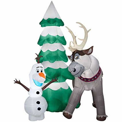 gemmy airblown inflatable olaf and sven the reindeer standing next to a christmas tree scene - Olaf Outdoor Christmas Decoration