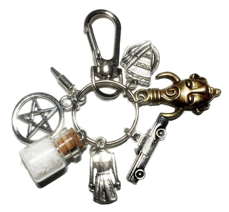 Supernatural TV Series Salt Bottle Protection Charms Keychain