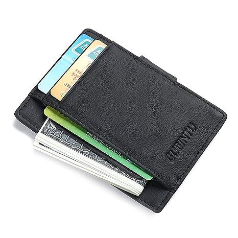 MPTECK @ Negro Portatarjetas Clip de Dinero Cartera Bloqueo RFID para Hombre Mujeres Monedero Slim Billetera