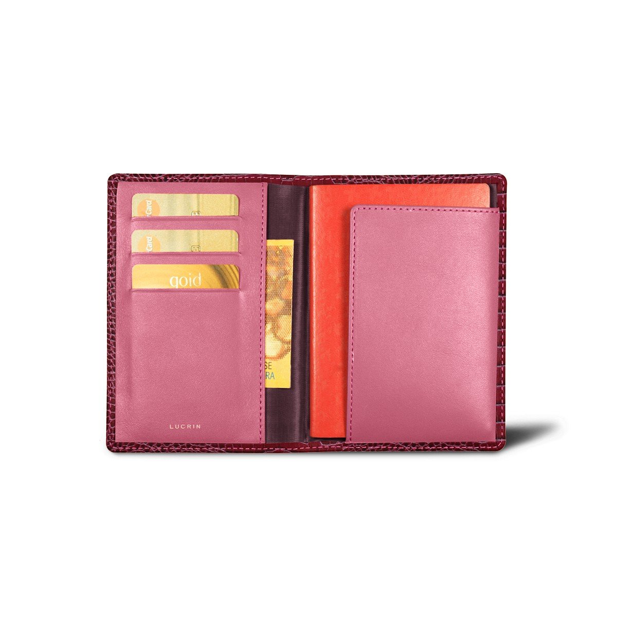 Lucrin - Passport and Loyalty Card Holder - Fuchsia - Crocodile style calfskin