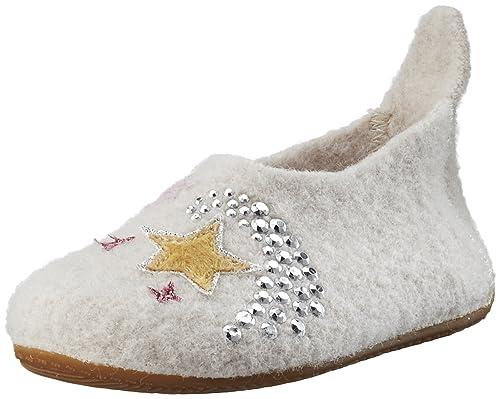 Living Kitzbühel Slipper Einhorn & Stern Aurora, Zapatillas de Estar por Casa para Niñas, Gris (Frost), 36 EU