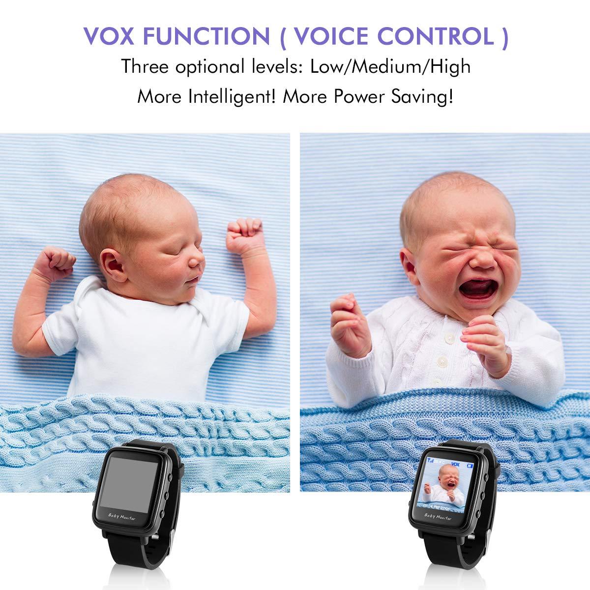 tragbare HD-Kinderkamera mit Lautsprecher Uhrzeit Raumtemperatur Babyphone Wecker Datum Reichweite bis zu 260 m drahtloser 2,4 GHZ digitaler Babyphone mit VOX-Funktion Nachtsicht