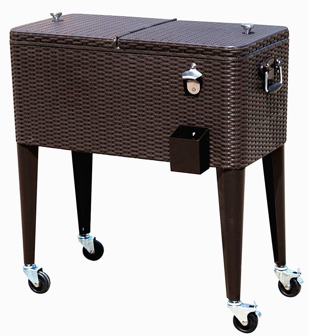 Rolling Cooler Dark Brown Wicker HIO 80 Qt Outdoor Patio Cooler Table On Wheels