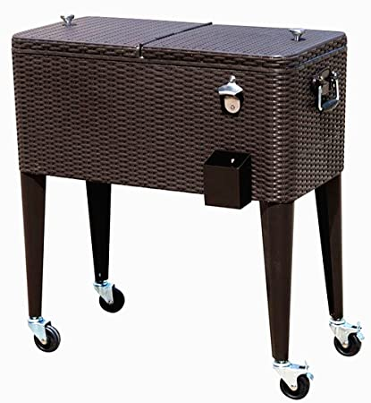 HIO 80 Qt Outdoor Patio Cooler Table On Wheels, Rolling Cooler, Dark Brown  Wicker