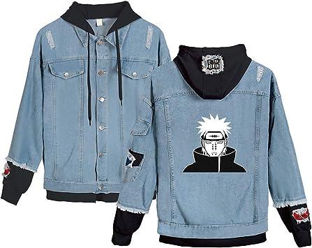男性と女性のファッションデニムジャケットアニメナルトペインフーディープルオーバースウェットシャツフェイクツーピースジーンズコートユニセックスフード付きコスチューム