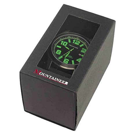 Amazon.com: Mountaineer Mens Black Sport Watch Waterproof Quartz Movement Oversized Large Face Big Dial Green Numerals Date Reloj Hombre MN8042: Watches