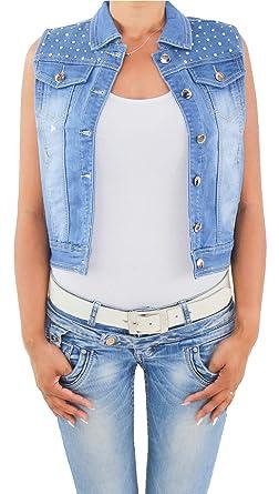 finest selection 67966 9645c Damen Jeans Weste Tailliert Jeansweste Demin Jacke Kurz Blau ...