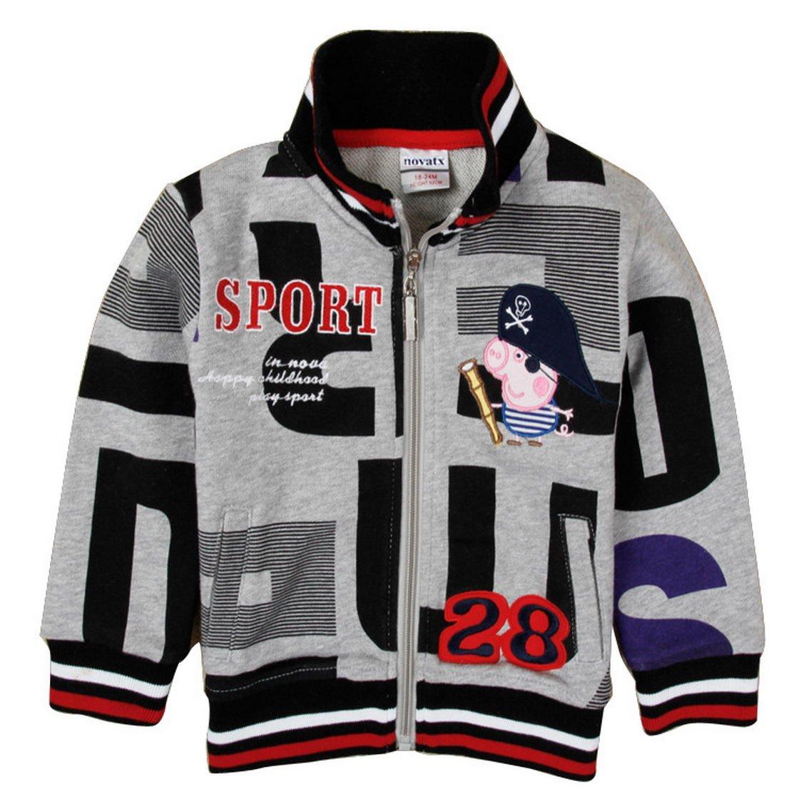 Peppa Pig Little Boys Long Sleeve Cartoon Embroidery Fleece Sweatshirt Jacket Gray 4 (3/4Y) Tiful