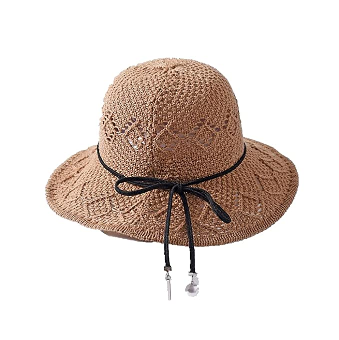 370694bbafde6 Image Unavailable. Image not available for. Color  Summer British Sun Hat  Wide Brim Elegant Beach Straw Bucket ...
