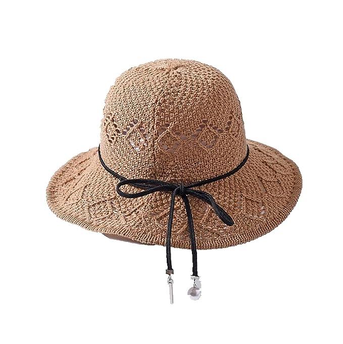 19bc745deb86 Summer British Sun Hat Wide Brim Elegant Beach Straw Bucket Hat for ...