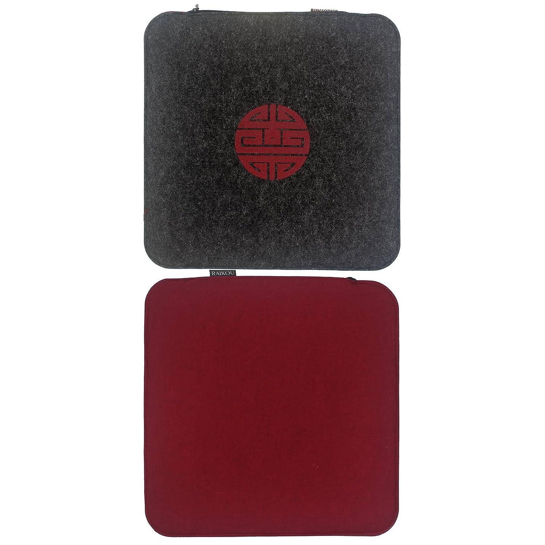 Raikou Filz Sitzkissen, Waschbare Waschbare Waschbare Stuhlauflage mit Füllung inkl. Reissverschluss. Moderne Sitzauflage für Bank und Stuhl mit Runden Ecken, weich gepolstert. (Dunkelgrau Creme,6er Set) c29542