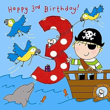 twizler tarjeta 3 ° Cumpleaños para bebé con pirata, Loros Y ...