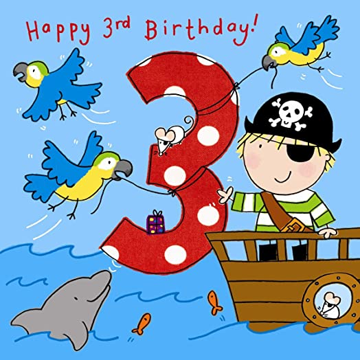 Twizler 3rd Birthday Card for Boy with Pirate Parrots and Glitter – Boy Birthday Cards