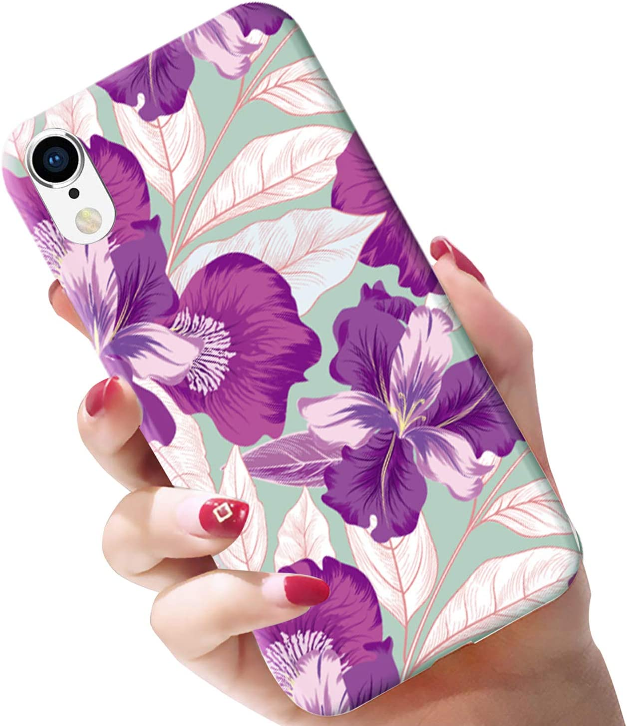 Attractive Flower and Leaves of Green Color on its Outer Side which Provides Pleasant Visual Effect for The User GYZCYQ Design Beautiful White Flowers Compatible iPhone X//XS Case for Girls Women